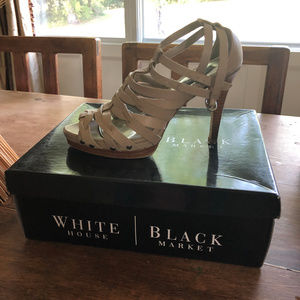 Taupe Strappy Leather Heel